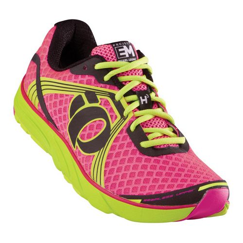 Womens Pearl Izumi EM Road H 3 Running Shoe - Electric Pink/Lime 9