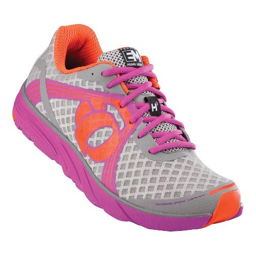 Womens Pearl Izumi EM Road H 3 Running Shoe - Grey/Raspberry Rose 7.5