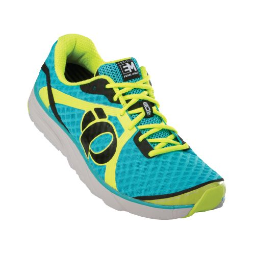 Womens Pearl Izumi EM Road H 3 Running Shoe - Scuba Blue/Screaming Yellow 9