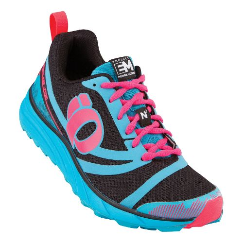 Womens Pearl Izumi EM Trail N 2 Trail Running Shoe - Black/Electric Blue 10
