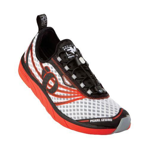 Mens Pearl Izumi EM Tri N 1 Racing Shoe - White/Cherry Tomato 12.5