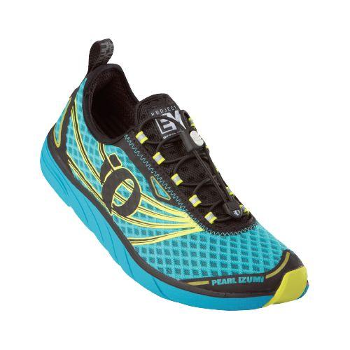 Womens Pearl Izumi EM Tri N 1 Racing Shoe - Scuba Blue/Screaming Yellow 10
