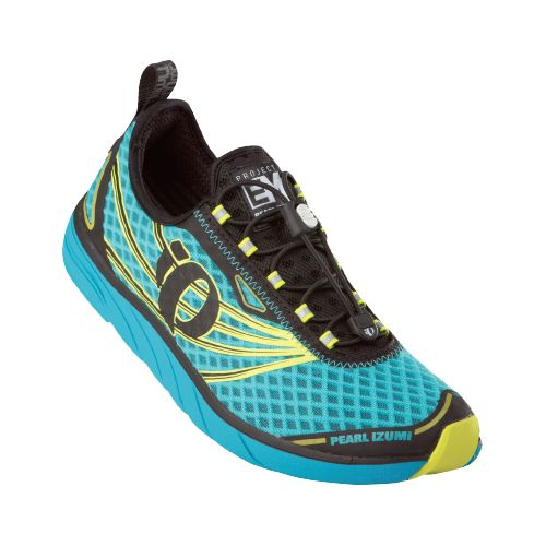 Womens Pearl Izumi EM Tri N 1 Racing Shoe - Scuba Blue/Screaming Yellow 12