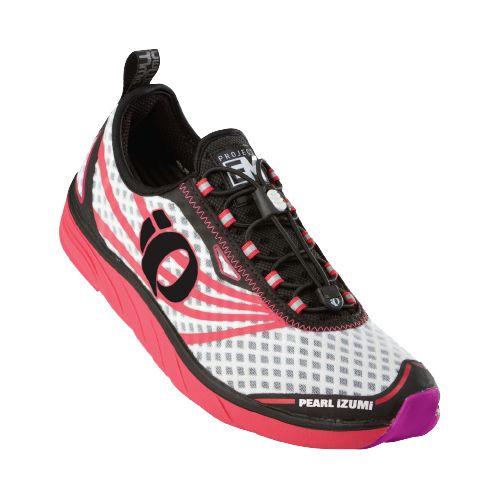 Womens Pearl Izumi EM Tri N 1 v2 Racing Shoe - White/Paradise Pink 10.5