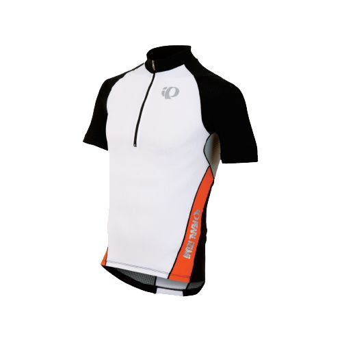 Mens Pearl Izumi ELITE In-R-Cool Tri Jersey Short Sleeve Technical Tops - White/Cherry Tomato L ...
