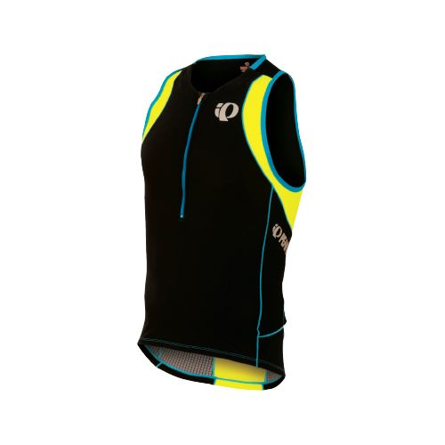 Mens Pearl Izumi ELITE In-R-Cool Tri Singlets Technical Tops - Black/Screaming Yellow M