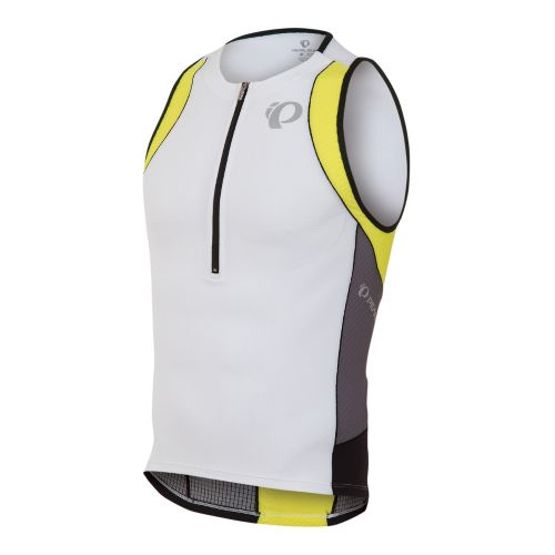 Mens Pearl Izumi ELITE In-R-Cool Tri Singlets Technical Tops - White/Blazing Yellow L