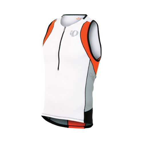 Mens Pearl Izumi ELITE In-R-Cool Tri Singlets Technical Tops - White/Cherry Tomato L