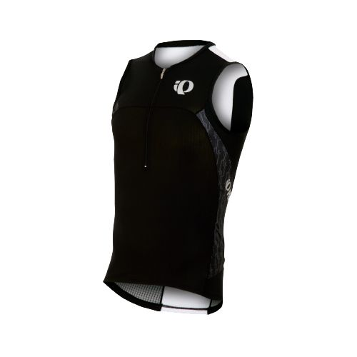 Mens Pearl Izumi ELITE In-R-Cool Tri Jersey Sleeveless Technical Tops - Black/Black Turnout M