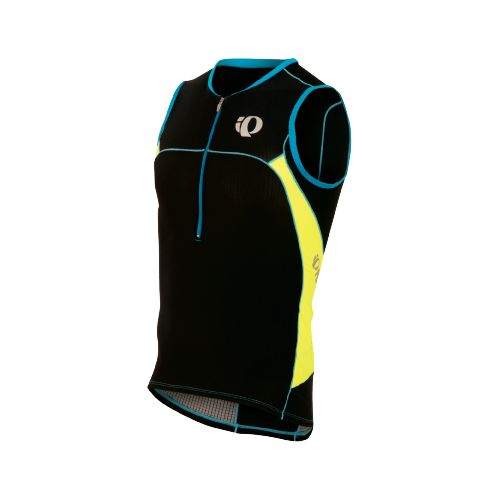 Mens Pearl Izumi ELITE In-R-Cool Tri Jersey Sleeveless Technical Tops - Black/Screaming Yellow M