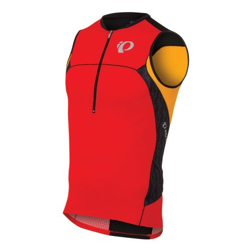 Mens Pearl Izumi ELITE In-R-Cool Tri Jersey Sleeveless Technical Tops - Fiery Red/Black Turnout ...