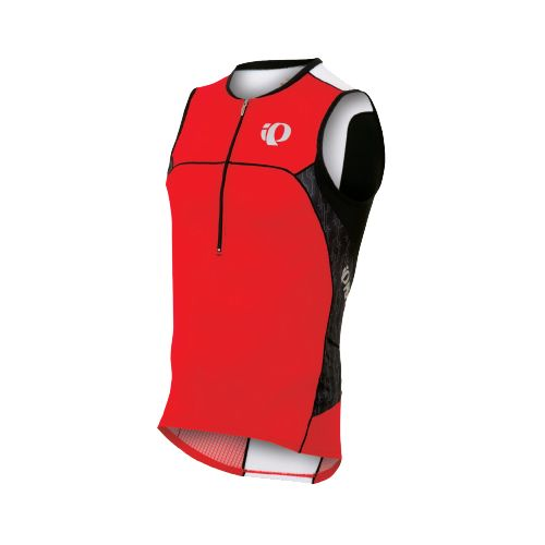 Mens Pearl Izumi ELITE In-R-Cool Tri Jersey Sleeveless Technical Tops - True Red/Black Turnout ...