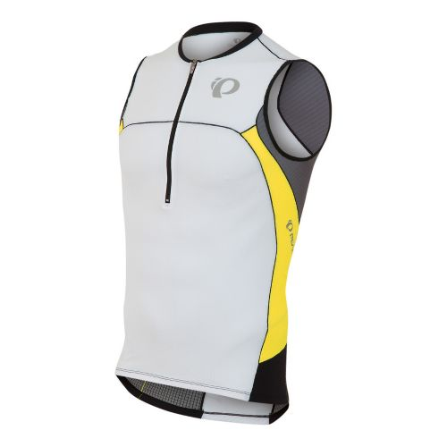 Mens Pearl Izumi ELITE In-R-Cool Tri Jersey Sleeveless Technical Tops - White/Blazing Yellow L