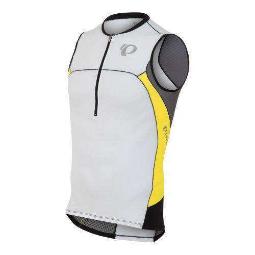 Mens Pearl Izumi ELITE In-R-Cool Tri Jersey Sleeveless Technical Tops - White/Blazing Yellow XL