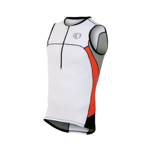 Mens Pearl Izumi ELITE In-R-Cool Tri Jersey Sleeveless Technical Tops - White/Cherry Tomato M