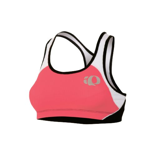 Womens Pearl Izumi Elite In-R-Cool Crop Sports Bras - Paradise Pink/White M