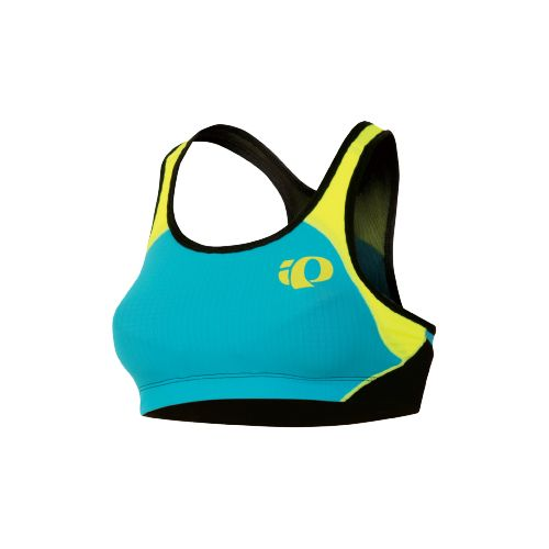 Womens Pearl Izumi Elite In-R-Cool Crop Sports Bras - Scuba Blue/Screaming Yellow M