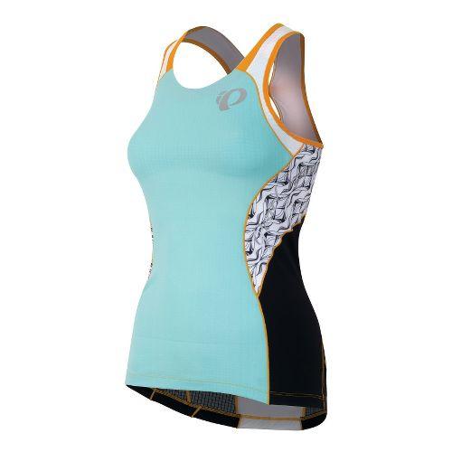 Womens Pearl Izumi Elite In-R-Cool Singlet Sport Top Bras - Aruba Blue/White Hex L