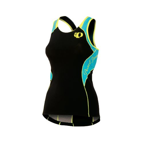 Womens Pearl Izumi Elite In-R-Cool Singlet Sport Top Bras - Black/Scuba Blue L