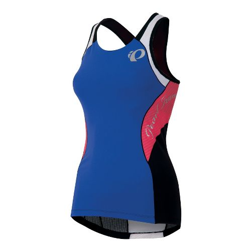 Womens Pearl Izumi Elite In-R-Cool Singlet Sport Top Bras - Dazzling Blue/Coral L