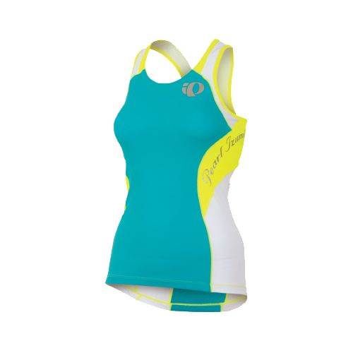 Womens Pearl Izumi Elite In-R-Cool Singlet Sport Top Bras - Scuba Blue/Screaming Yellow L