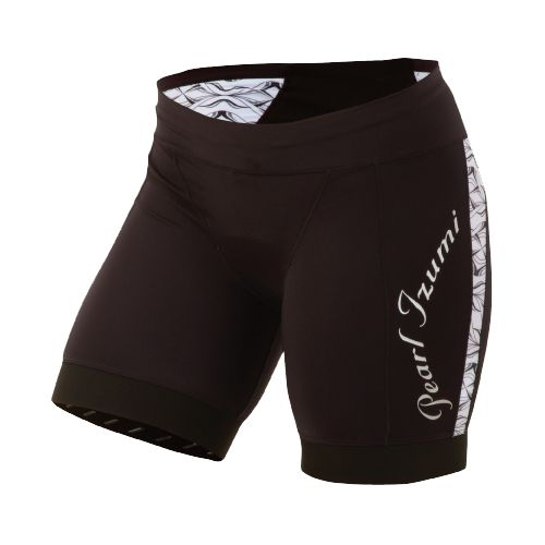 Womens Pearl Izumi Elite In-R-Cool Tri Race Short Fitted Shorts - Black/White Hex L