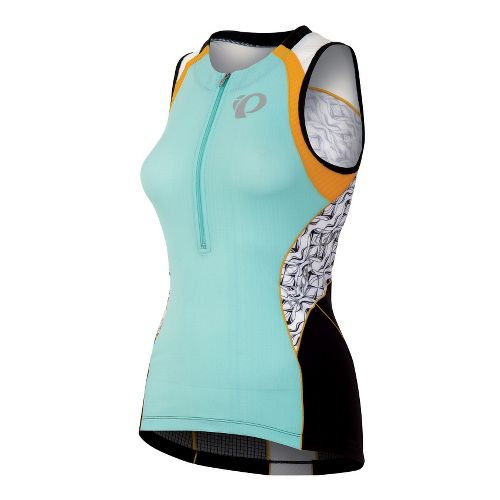 Womens Pearl Izumi Elite In-R-Cool Tri Jersey Sleeveless Technical Tops - Aruba Blue/White Hex ...