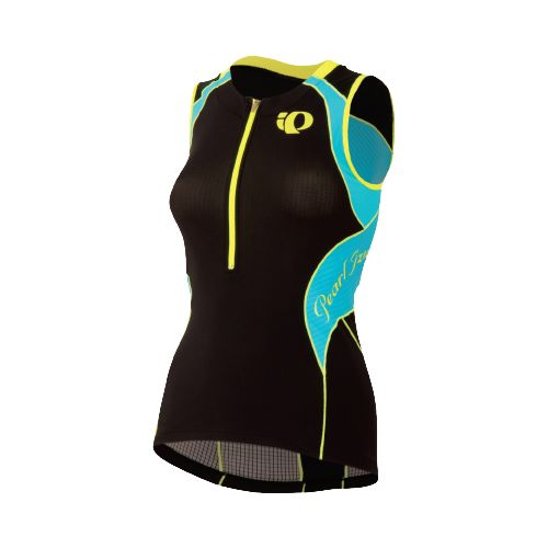 Womens Pearl Izumi Elite In-R-Cool Tri Jersey Sleeveless Technical Tops - Black/Scuba Blue XS