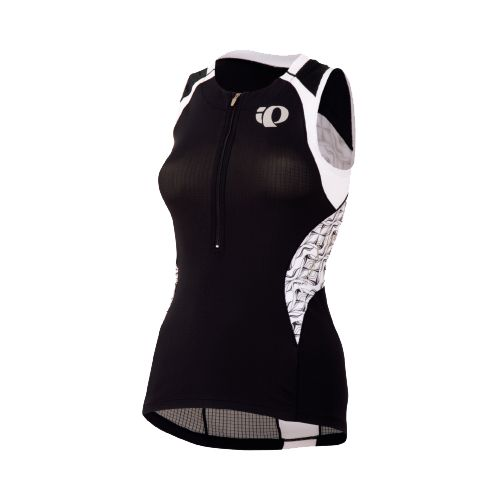 Womens Pearl Izumi Elite In-R-Cool Tri Jersey Sleeveless Technical Tops - Black/White Hex S