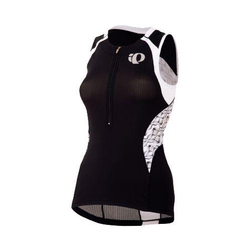 Womens Pearl Izumi Elite In-R-Cool Tri Jersey Sleeveless Technical Tops - Black/White Hex XS