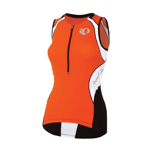 Womens Pearl Izumi Elite In-R-Cool Tri Jersey Sleeveless Technical Tops - Cherry Tomato/White S