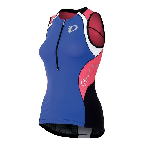 Womens Pearl Izumi Elite In-R-Cool Tri Jersey Sleeveless Technical Tops - Dazzling Blue/Coral M