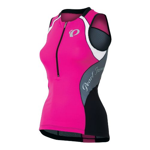 Womens Pearl Izumi Elite In-R-Cool Tri Jersey Sleeveless Technical Tops - Hot Pink/Stormy L
