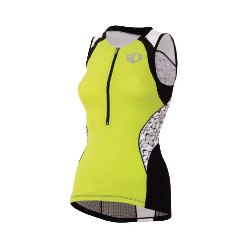 Womens Pearl Izumi Elite In-R-Cool Tri Jersey Sleeveless Technical Tops - Lime/White M