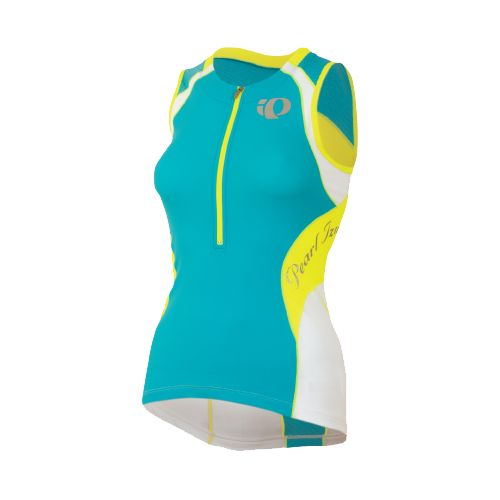 Womens Pearl Izumi Elite In-R-Cool Tri Jersey Sleeveless Technical Tops - Scuba Blue/Screaming ...