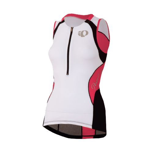 Womens Pearl Izumi Elite In-R-Cool Tri Jersey Sleeveless Technical Tops - White/Paradise Pink M
