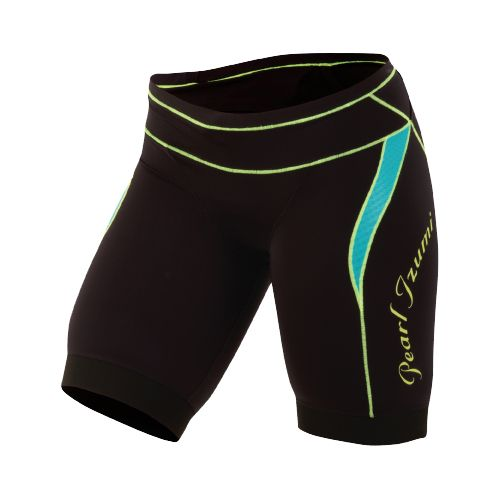 Womens Pearl Izumi Elite In-R-Cool Tri Short Fitted Shorts - Black/Scuba Blue XL