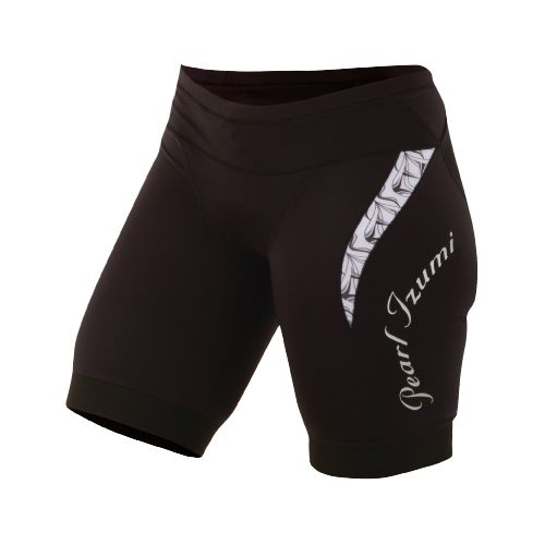 Womens Pearl Izumi Elite In-R-Cool Tri Short Fitted Shorts - Black/White Hex L