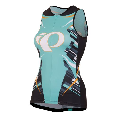 Womens Pearl Izumi Elite In-R-Cool LTD Tri Singlets Technical Tops - Blockstripe Black XL