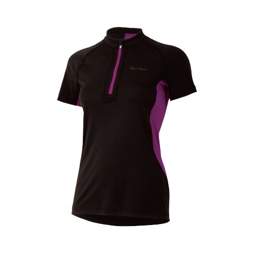 Womens Pearl Izumi Ultra Inside-Out Zip Short Sleeve Technical Tops - Black/Orchid L
