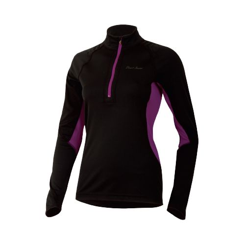 Womens Pearl Izumi Ultra Inside-Out Long Sleeve 1/2 Zip Technical Tops - Black/Orchid L