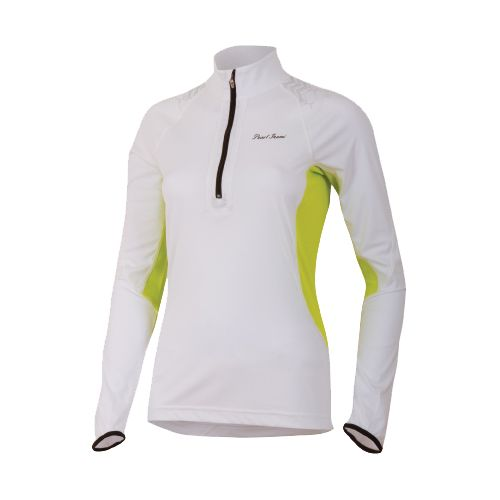 Womens Pearl Izumi Ultra Inside-Out Long Sleeve 1/2 Zip Technical Tops - White/Lime L