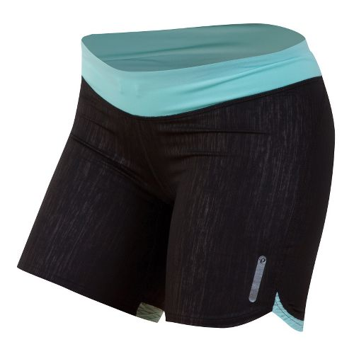 Womens Pearl Izumi W Flash Tight Fitted Shorts - Black/Aruba Blue S