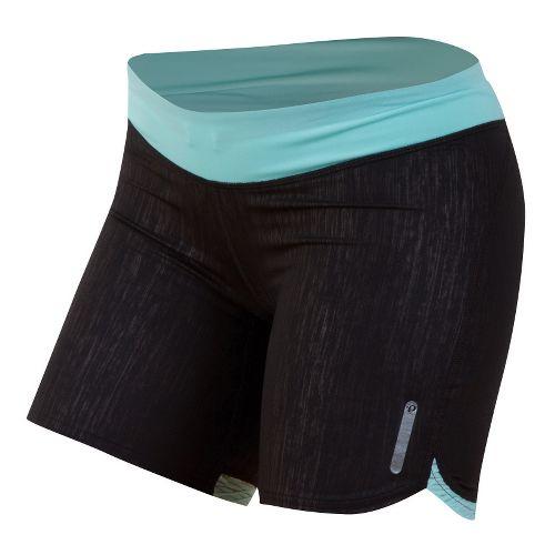 Womens Pearl Izumi W Flash Tight Fitted Shorts - Black/Aruba Blue XL