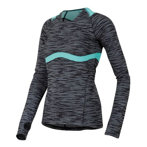 Womens Pearl Izumi Flash Long Sleeve 1/2 Zip Technical Tops - Black/Aruba Blue XS