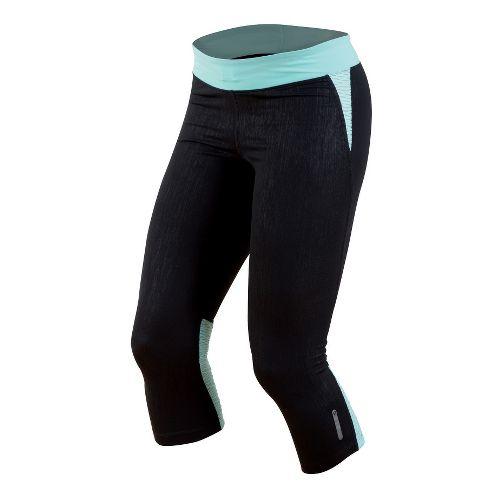 Womens Pearl Izumi Flash 3/4 Capri Tights - Black/Aruba Blue M