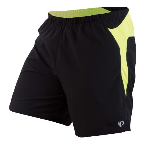Mens Pearl Izumi Fly Long Lined Shorts - Black/Screaming Yellow S