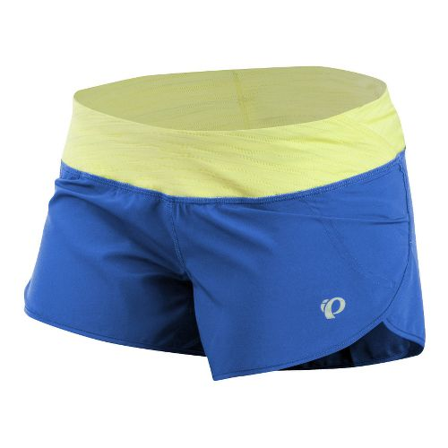 Womens Pearl Izumi Fly Split Lined Shorts - Dazzling Blue/Sunny Lime L
