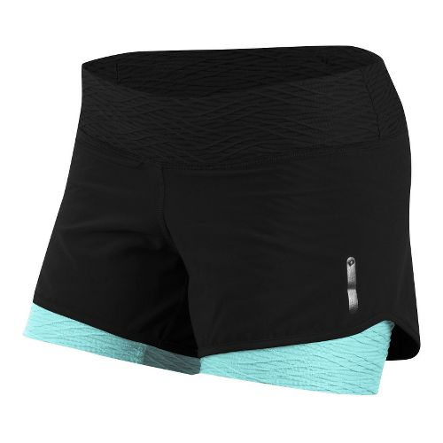 Womens Pearl Izumi W Flash 2-in-1 Shorts - Black/Aruba Blue XXL