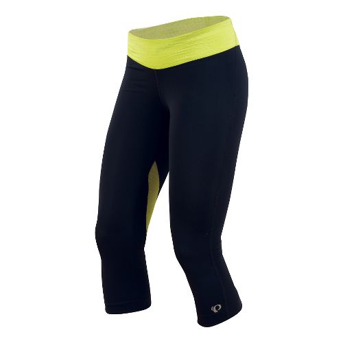 Womens Pearl Izumi Fly 3/4 Capri Tights - Black/Sulphur L